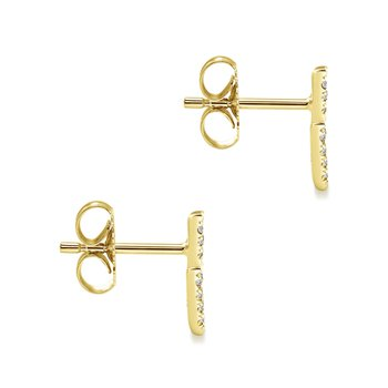 14K Yellow Gold Double Chevron Diamond Stud Earrings