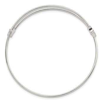 Sterling Silver Polished Star Expandable Bangle