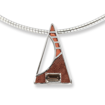 Sterling Silver Triangle Necklace-Brown. Smokey Quartz.