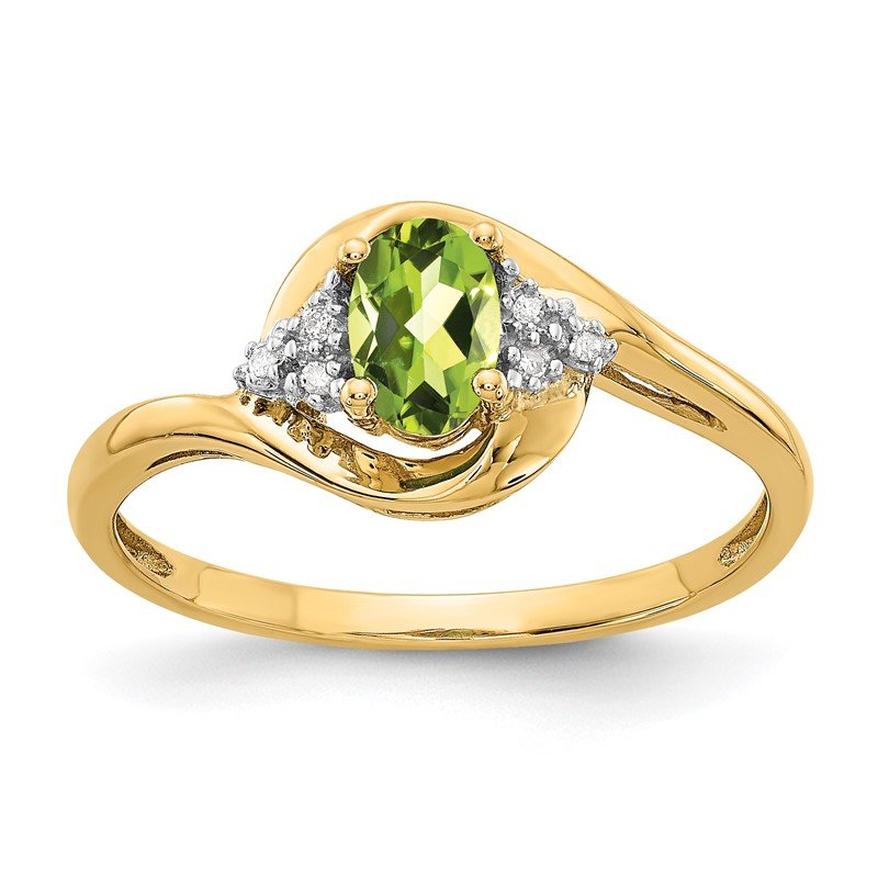 Quality Gold 14k Peridot and Diamond Ring