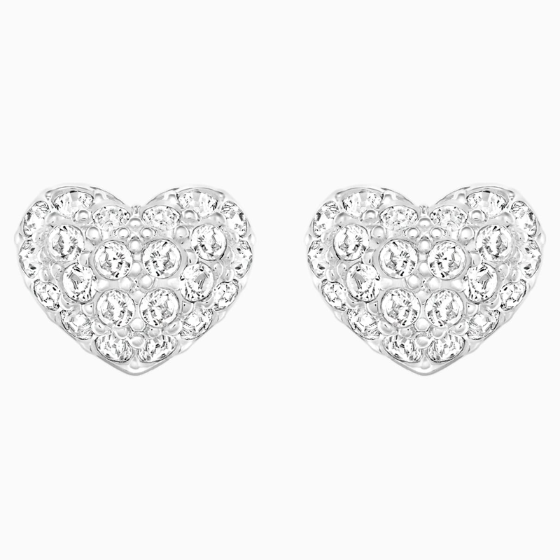Swarovski Heart Pierced Earrings, White, Rhodium plated