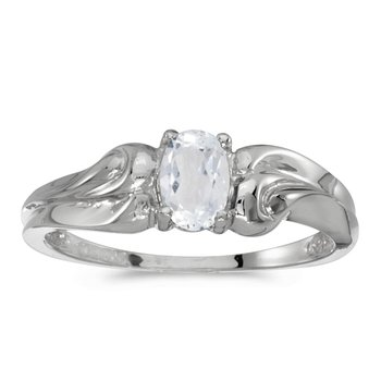 10k White Gold Oval White Topaz Ring