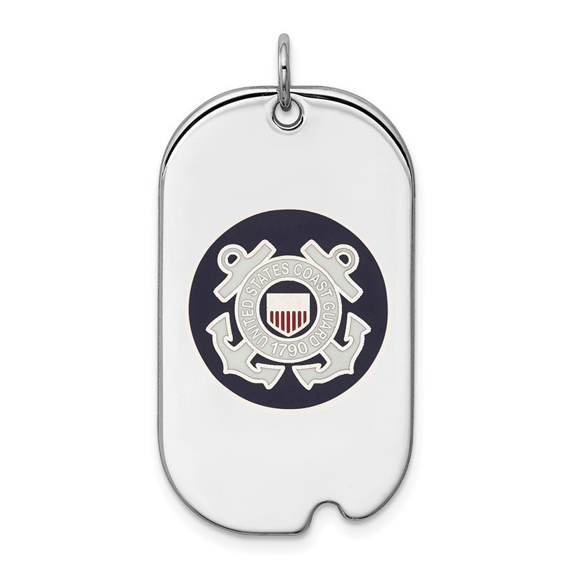 Quality Gold Sterling Silver Rhodium-plated US Coast Guard Dog Tag