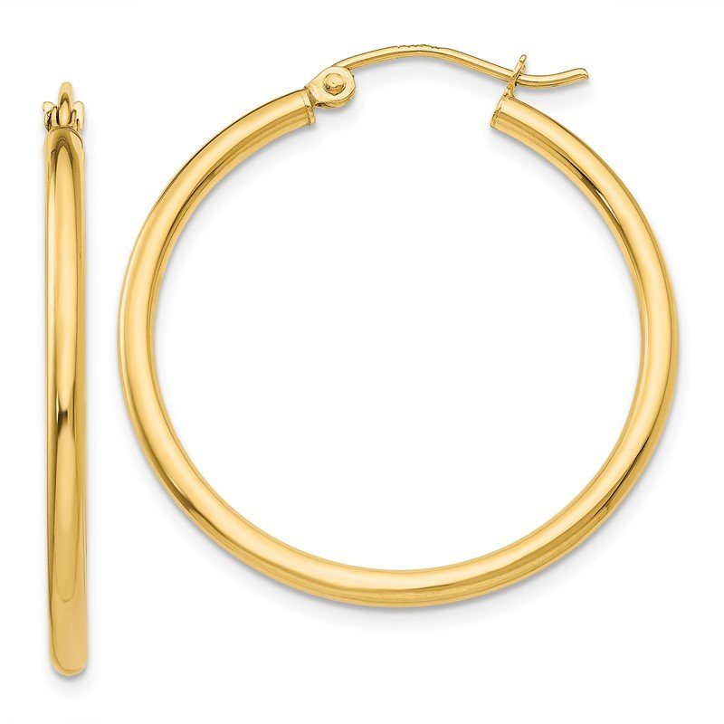 Quality Gold 14k Polished 2mm Tube Hoop Earrings