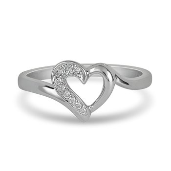 925 SS Diamond Heart Ring