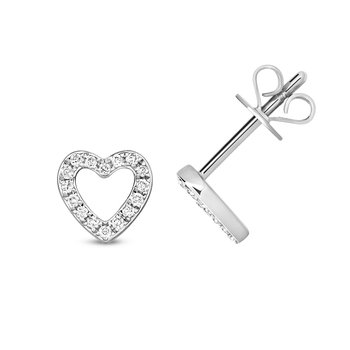 Diamond Heart Earring Studs