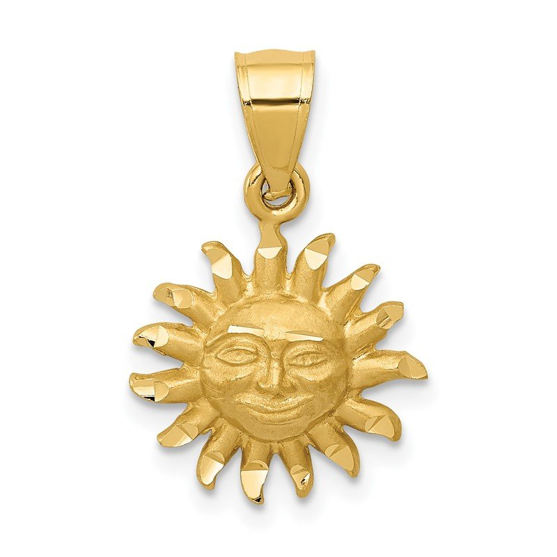 Quality Gold 14k Satin Diamond-cut Sun Pendant