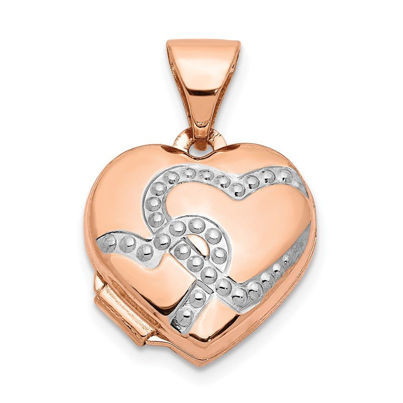 Quality Gold 14k Rose Gold w/Rhodium 12mm Heart Locket