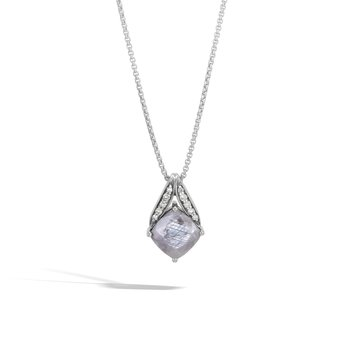 Modern Chain Magic Cut Pendant Necklace, Silver, Gems, Dia