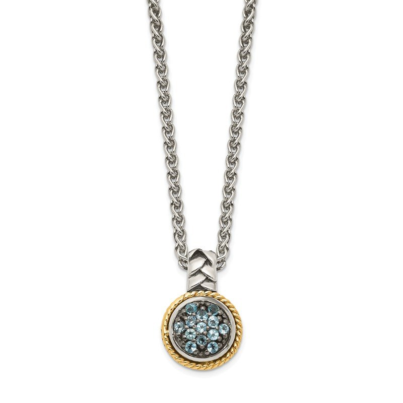 Shey Couture Sterling Silver w/ 14K Accent Light Swiss Blue Topaz Necklace