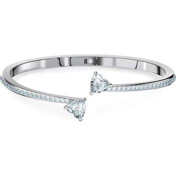 Attract Soul Heart Bangle, White, Rhodium plated