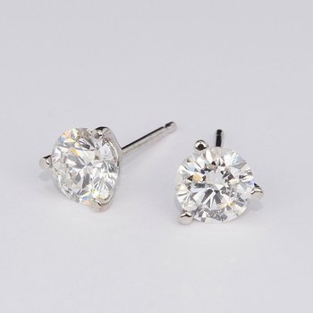 3.04 Cttw. Diamond Stud Earrings