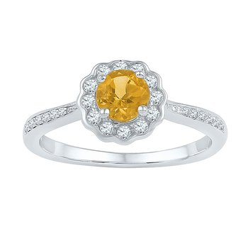 10kt White Gold Womens Round Citrine Solitaire Diamond Ring 3/4 Cttw