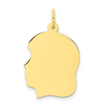 10K Plain Large .018 Gauge Facing Left Engravable Girl Head Charm
