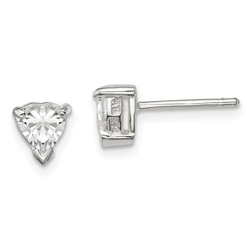 Sterling Silver 5mm Heart Basket Set CZ Stud Earrings