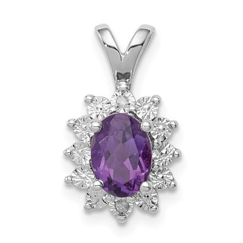 Sterling Silver Rhodium-plated Diamond & Amethyst Pendant