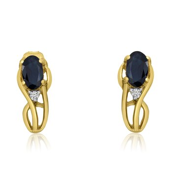 14K Yellow Gold Curved Sapphire and Diamond Earrings