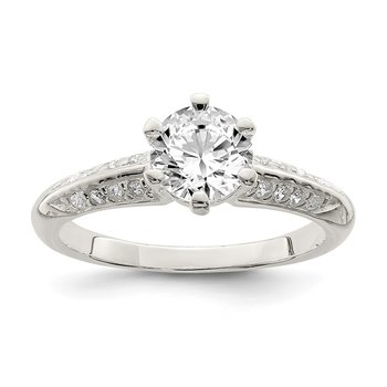 Sterling Silver Polished CZ 6-prong CZ Ring