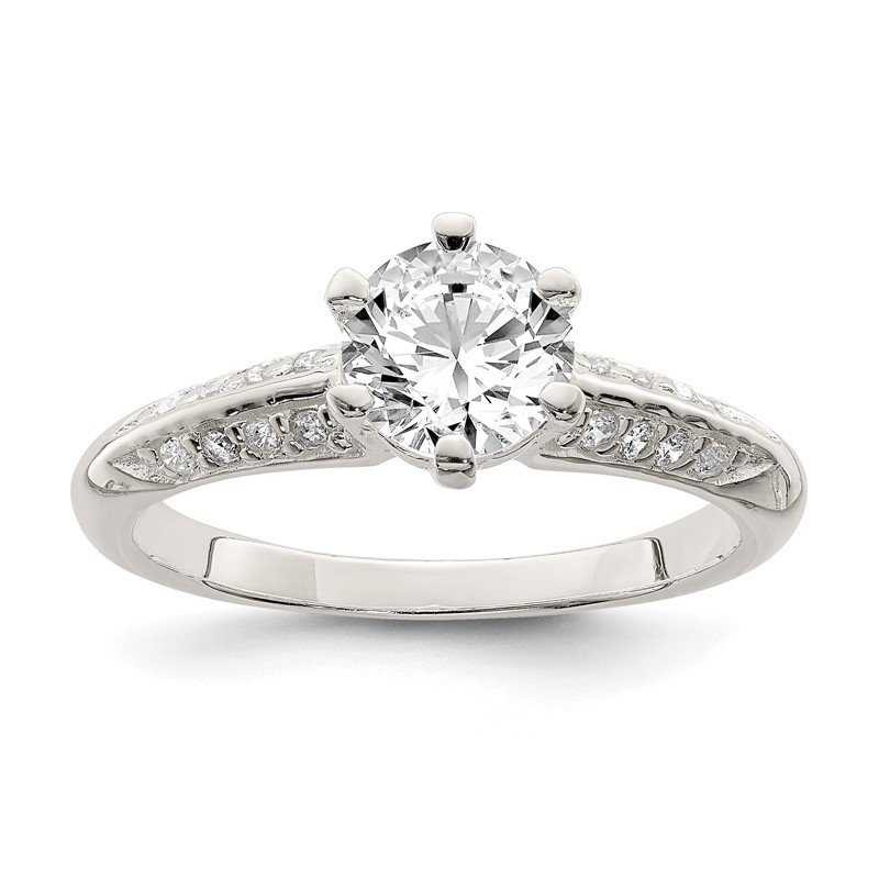 Quality Gold Sterling Silver Polished CZ 6-prong CZ Ring