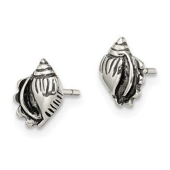 Sterling Silver Polished and Antiqued Sea Shell Post Earrings