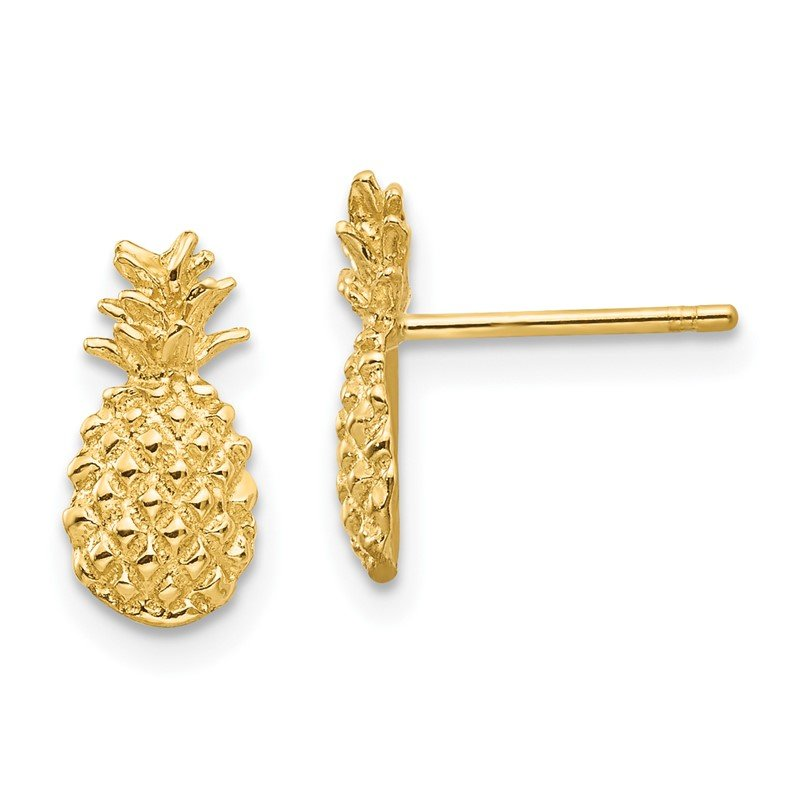 Quality Gold 14K Polished and Textured Pineapple Post Earrings