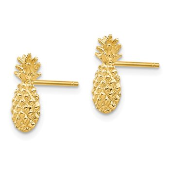 14K Polished and Textured Pineapple Post Earrings