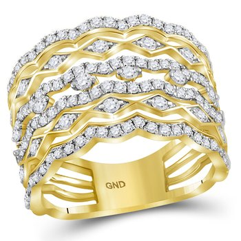 14kt Yellow Gold Womens Round Diamond Symmetrical Open Strand Band Ring 1-1/3 Cttw