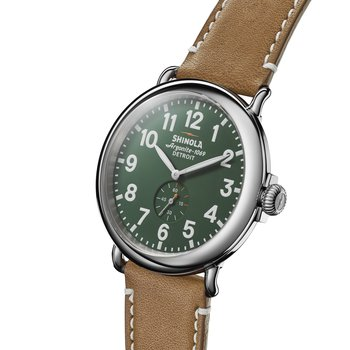 The Runwell 47mm Leather Strap Green Dial Mens Watch