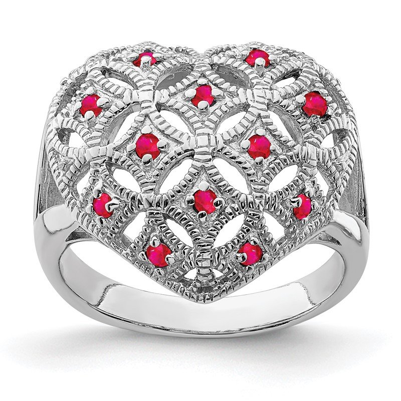 Quality Gold Sterling Silver Rhodium-plated Ruby Heart Ring