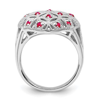 Sterling Silver Rhodium-plated Ruby Heart Ring
