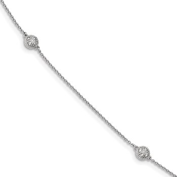 Sterling Silver Rhodium-plated CZ Micro Pav? 14-Station Necklace