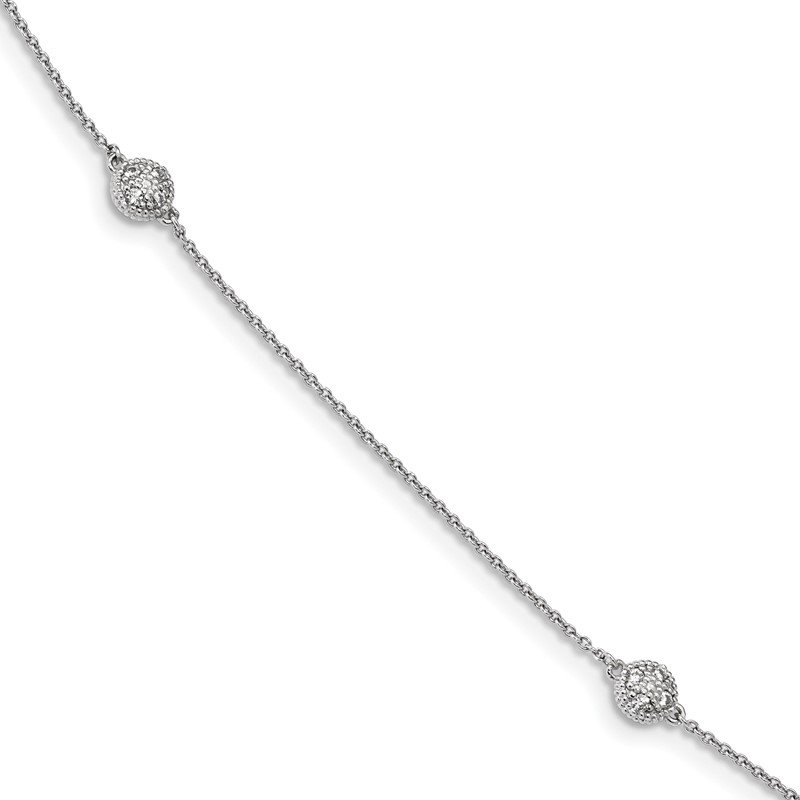 Quality Gold Sterling Silver Rhodium-plated CZ Micro Pav? 14-Station Necklace