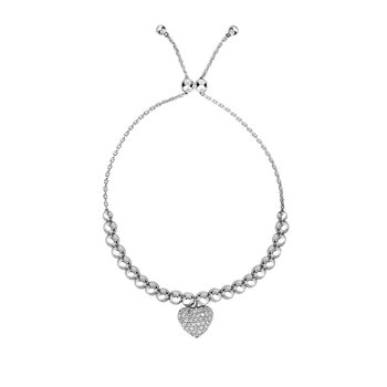Sterling Silver Heart Bead CZ Charm Friendship Bracelet