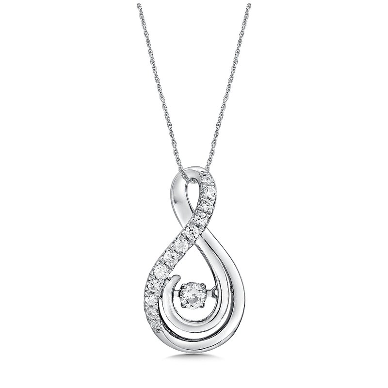 SDC Creations Dancing Diamond Swirl Pendant in 14K White Gold  with Chain