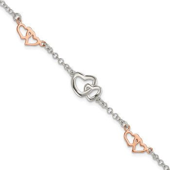 Sterling Silver Rose Gold-plated Polished Heart Bracelet