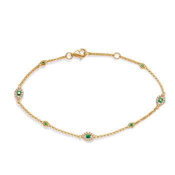 Yellow Gold Emerald & Diamond Bracelet