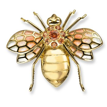 Pink Bee Brooch.18K -Orange Sapphires - Plique-a-Jour