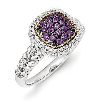 Sterling Silver w/14k and Black Rhodium Amethyst Ring