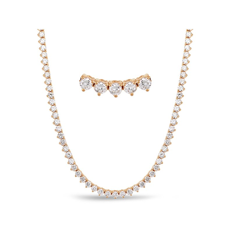 Briana Rose Gold Three Prong Rivera Necklace