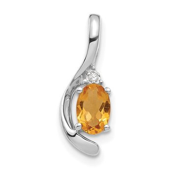 14k White Gold Citrine and Diamond Pendant