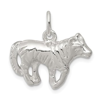 Sterling Silver Wolf Charm