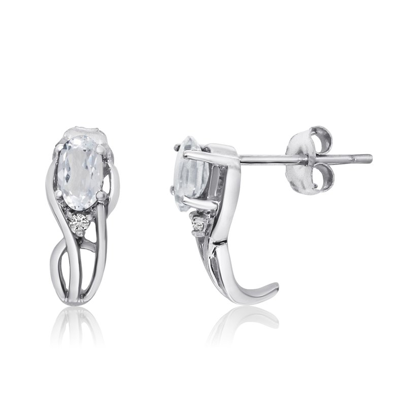 Color Merchants 14K White Gold Curved White Topaz and Diamond Earrings