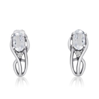 14K White Gold Curved White Topaz and Diamond Earrings