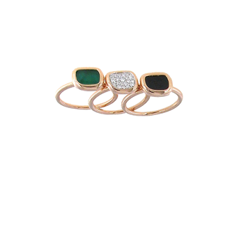 18KT GOLD 3 RINGS WITH BLACK JADE, DIAMONDS AND GREEN AGATE