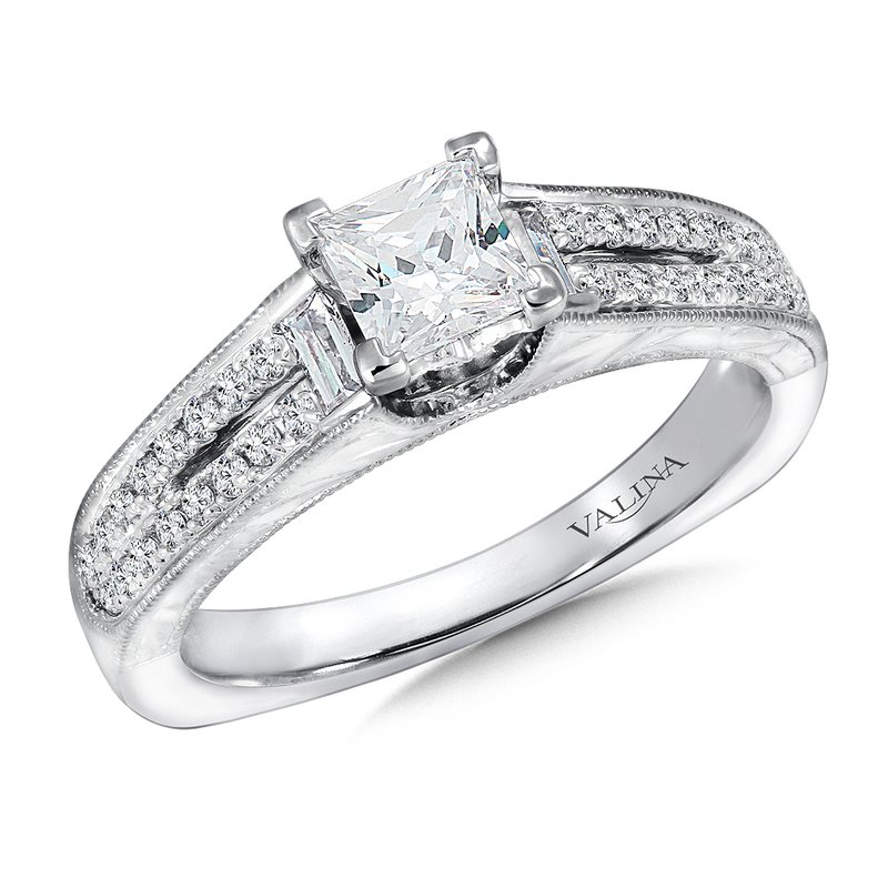 Valina Bridals Mounting with side stones .29 ct. tw., 3/4 ct. Princess cut center.