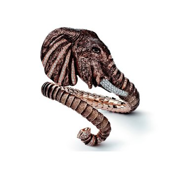 18Kt Gold Flexible Elephant Cuff With Diamond Tusks