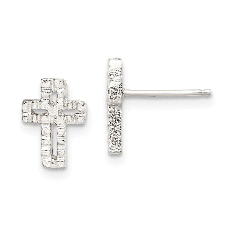 Quality Gold Sterling Silver Cross Mini Earrings