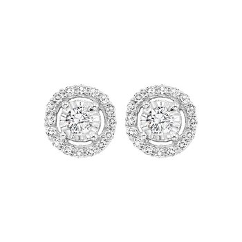 Diamond Solitaire Starburst Stud Earrings in 14k White Gold (1/4ctw)