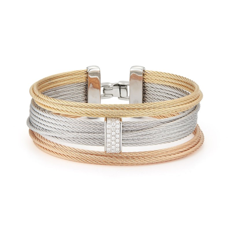 ALOR Rose, Yellow, & Grey Large 3 Row Simple Stack Bracelet with 18kt White Gold & Diamonds