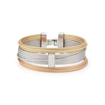 Rose, Yellow, & Grey Large 3 Row Simple Stack Bracelet with 18kt White Gold & Diamonds